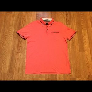 Ted Baker salmon pink polo shirt.